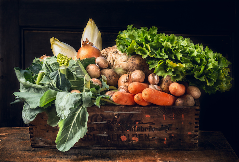 Box of fresh vegetables